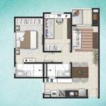 Planta 56M² - 2 dormitórios